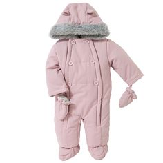 Baby wadded snowsuit, dusky pink
