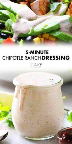 Cilantro Ranch Dressing, Chipotle Dressing, Ranch Dressing Recipe, Ranch Recipe, Salad Dressing Recipes, Southwest Ranch Dressing, Bbq Chicken Salad, Chicken Salad Recipes, Chicken Dips