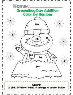 Groundhog Day addition color by number part of 21 pg common core aligned math packet for Groundhog Day