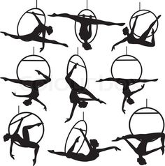 Set of aerial hoop acrobat woman silhouette ,You can find Aerial dance and more on our website. Set of aerial hoop acrobat woman silhouette , Aerial Dance, Aerial Hoop, Lyra Aerial, Aerial Acrobatics, Aerial Arts, Aerial Gymnastics, Arial Silk, Lira, Circus Art