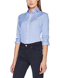 Polo Ralph Lauren Women s Brw Kendal-Long Sleeve-Shirt Blouse, Mehrfarbig  (303F 01729f6a77c