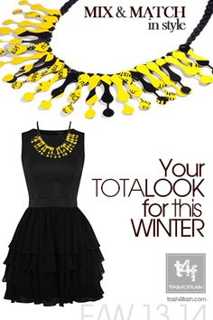 MIX & MATCH IN STYLE WITH T4F JEWELLERY!  ...an all time classic little black dress, with a necklace to impress..  DESIGN ONE OF A KIND // Now on SALE @ http://www.trash4flash.bigcartel.com/  ( Dress by #warehouse – Necklace by #trash4flash #Design )  #FW13-14 #fashionjewellery #fashion #necklace #winter #collections #totallook #blackdress  www.trash4flash.com