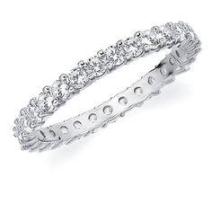 10K White Gold Ladies Round Diamond Eternity Ring 1.0 CT Anniversary Ring Band Size 10.5