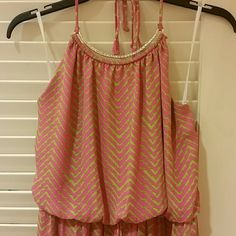 Pink Backless Maxi Great flowy design with green and pink stripes. Gold accent around neck line. Dresses Maxi