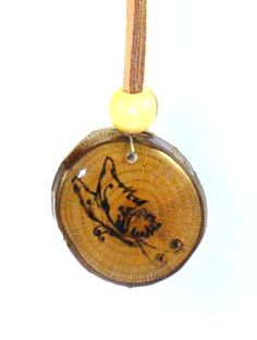 Butterfly Wood Burned Pendant Original Handmade by LadyDryad, $15.00