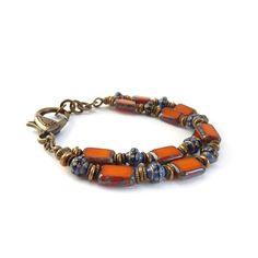 Orange Beaded Bracelet  Cobalt Blue by RockStoneTreasures on Etsy, $52.00