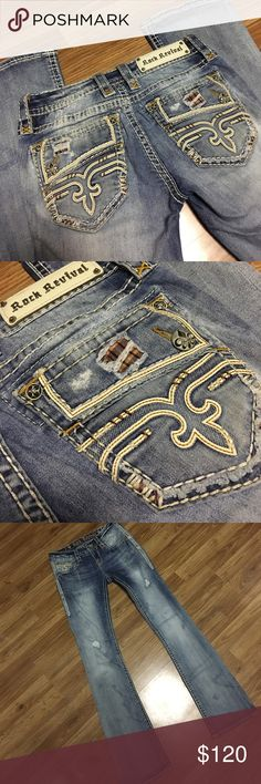 """Rock Revivals Excellent condition with no flaws. Cameo Boot. Size 26. Inseam 33"""". Reasonable offers are accepted! NO TRADES! Rock Revival Jeans Boot Cut"""