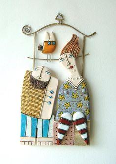 Ceramic Art Ceramic SculptureFine Art CeramicsHandmade ItemWith a Metal Elements Hanging on Wall In love Sculpture Art, Sculptures, Cerámica Ideas, Ceramic Workshop, Ceramic Wall Art, Ceramic Lantern, Ceramic Artists, Handmade Items, Handmade Ceramic