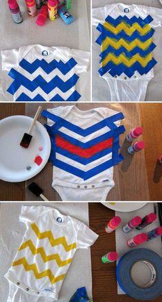 Chevron Muster mit Maler-band und Textilfarbe auf Baby Body