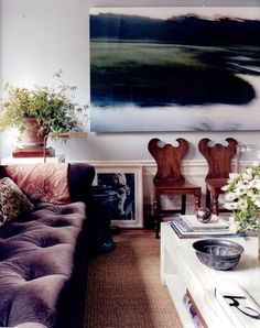 The sofa and the painting pull this space together nicely.