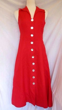 Coldwater Creek RED LONG Sleeveless DRESS Shell Buttons sz M/8 Petite exc cond #ColdwaterCreek