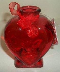 Valentines Red Vase Heart Shape With Ribbon New #Unbranded