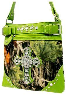 Western Mossy Oak Camo Purse Rhinestone Cross Accent Cross Body Messenger Bag GN #Other #MessengerCrossBody