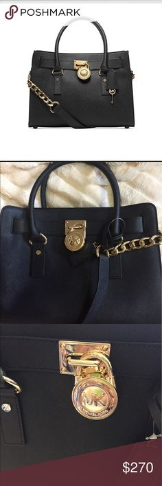 🌺MICHAEL KORS HAMILTON 🌺SATCHEL BLACK LEATHER The bag has being authenticated by MK. Leather of proof available. Bags Satchels