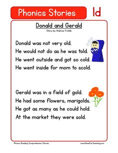This Reading Comprehension Worksheet - Donald and Gerald is for teaching reading comprehension. Use this reading comprehension story to teach reading comprehension.