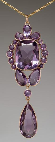 Antique Bezel Set Amethyst Pendant 10K Gold. This magnificent antique pendant features bezel set natural amethysts in solid 10k gold. This pendant is in good condition and features cushion, pear, and round cut stones in an elegant design. Via Era Gem.