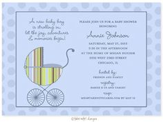 Baby carriage boy baby shower invitation