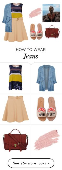 """""""Brilho jeans e chinelo silde"""" by jaquemel on Polyvore featuring P.A.R.O.S.H., River Island, Evans, Kate Spade and Jane Iredale"""