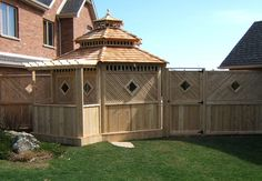 Custom cedar gazebo and fence by Flamborough Patio Garden Structures, Outdoor Structures, Sunrooms, Fences, Outdoor Spaces, Gazebo, Shed, Patio, Sunroom