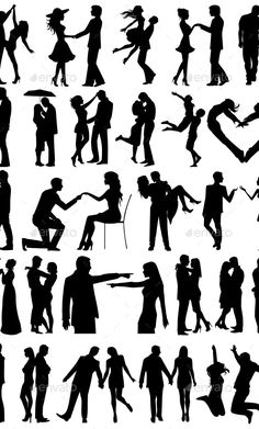 Buy Romantic Couple Silhouettes by SkyWorks on GraphicRiver. Couple Silhouette, Silhouette Painting, Wedding Silhouette, Couple Photoshoot Poses, Couple Photography Poses, Couple Posing, Romantic Paintings, Simple Canvas Paintings, Romantic Couples
