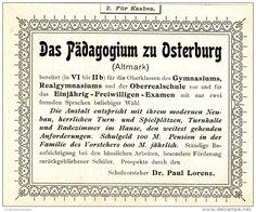 Original-Werbung/ Anzeige 1900 - DAS PÄDAGOGIUM ZU OSTERBURG - ca. 100 x 80 mm