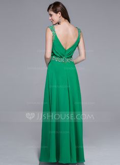 A-Line/Princess V-neck Floor-Length Chiffon Prom Dress With Ruffle Beading (018025510)