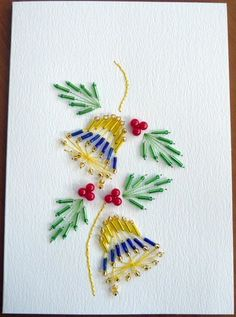 Stitched card beaded bells