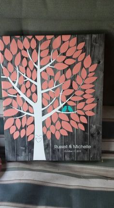 Darkwood Wedding Tree Canvas | Guest Book Alternative | Rustic Wedding | Customer Photo | Wedding Colors - Coral & Teal | peachwik.com