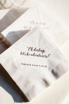 Wedding Day Personalized Cocktail Napkins   Anderson House DC Wedding   Happy Couple Photography