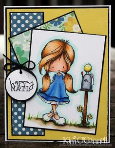 "Paper Perfect Designs by Kim O'Connell:  Tiddly Inks ""Happy Mail"" clear stamp set"