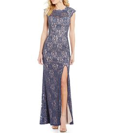 Jodi Kristopher Embellished Shoulders Long Lace Dress