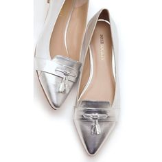 (1) Flat metallic loafers with a front tassel and pointed toe. |... ❤ liked on Polyvore featuring shoes, loafers, flat pointed toe shoes, pointed toe loafers, pointy toe loafers, flat shoes and metallic loafers