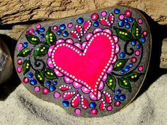 Blissful Heart / Painted Rock / Sandi Pike by LoveFromCapeCod, $48.00