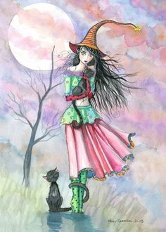 Witch Tabby Cats Autumn Fine Art Print by Molly Harrison 'Restless Tonight' 9 x 12 Giclee