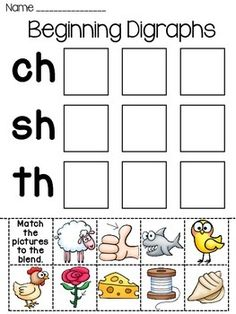 Digraphs word sorts worksheets: 3 different digraphs cut and paste worksheets where students cut and paste each picture to the right digraph. All 3 worksheets come in both full color and black & white that students can color.