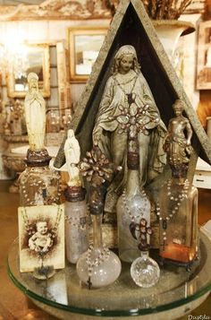 home altar using vintage items Altered Bottles, Old Bottles, Vintage Bottles, Antique Bottles, Vintage Perfume, Antique Glass, Perfume Bottles, Religious Icons, Religious Art