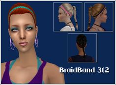 BraidBand Sims 2 Hair, Braided Updo, 2000s, Updos, Cas, My Hair, Braids, Content, Female