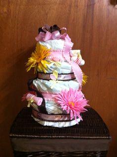 DIY diaper cake for girl baby shower gift