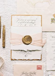 vintage looking invites with wax seal