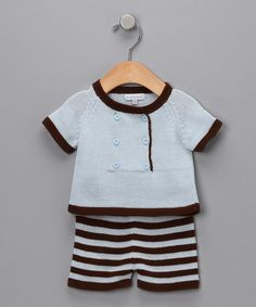 Take a look at this Blue & Brown Stripe Sweater & Knit Shorts - Infant by Hug Me First on #zulily today!