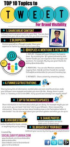 Top 10 Topics to Tweet [INFOGRAPHIC] by Social Savvy Sarah http://www.socialsavvysarah.com