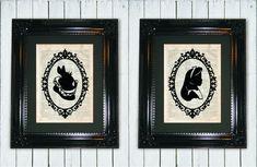 Alice et lapin Silhouette Duo tirage d'Art par MySilhouetteShoppe