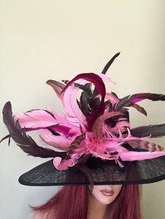 ee4384462a0 Black Pink Wide Brim Hat Kentucky Derby -Wedding- Sheer -Sinamay- Races-  Custom