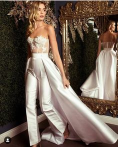 95e6a0a6163 2019 New Arrival Rompers White Lace Elegant Evening Dress Pants with  Detachable Skirt