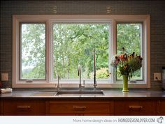 Large Kitchen Window - A must! 15 Classy Kitchen Windows for Your Home Window Over Sink, Kitchen Sink Window, Kitchen Windows, Open Window, Kitchen Sinks, Window View, Window Ledge, Kitchen Curtains, Kitchen Island