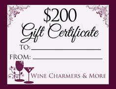 Gift Certificate 200.00 by winecharmersandmore on Etsy