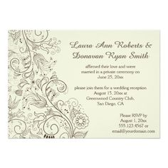 Brown Sketched Swirls Flowers on Ivory Wedding Card