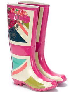 Union Jack Floral Rainboots