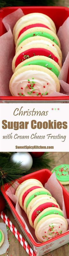 Christmas Sugar Cookies with Cream Cheese Frosting are perfect for the upcoming holiday-Christmas,for those who like sugar cookies on their Christmas plates (cheese cookies) Christmas Deserts, Holiday Desserts, Holiday Baking, Holiday Treats, Holiday Recipes, Christmas Holidays, Christmas Plates, Christmas Goodies, Cream Cheese Cookies