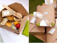 Mini food in a folded cardboard box for a Glamping wedding #glamping #wedding